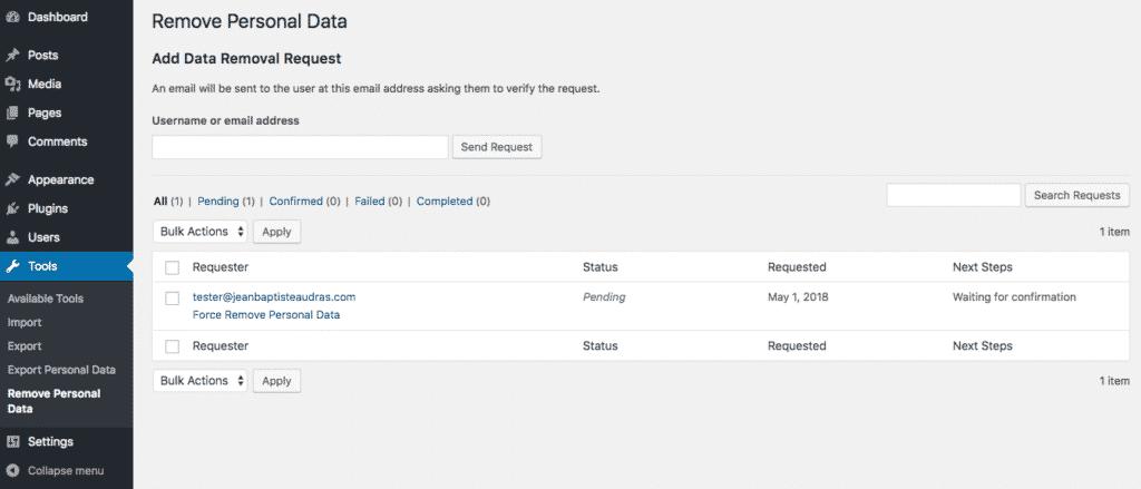 eliminare dati personali gdpr wordpress